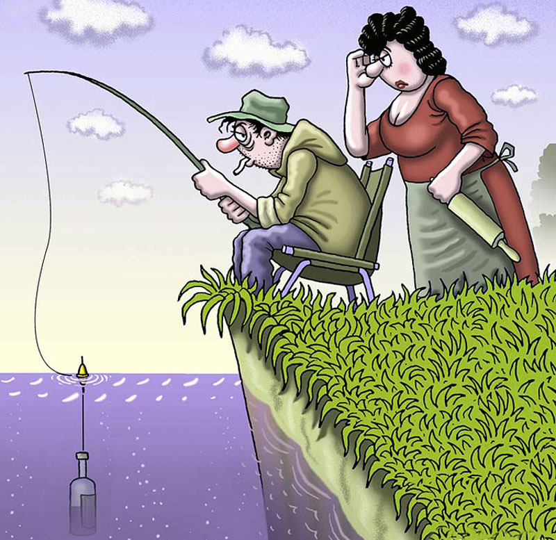 Рисунки смешные про рыбалку